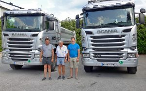 Über uns - 3 mal Martin Hendling mit 2 Scania LKW